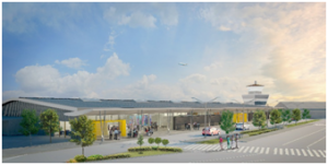 Artists impression of the exterior render for the new airport terminal building.