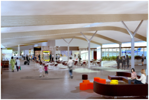 Artists impression of the interior render for the new airport terminal building.